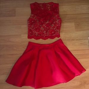 2 piece dress cropped top and skirt